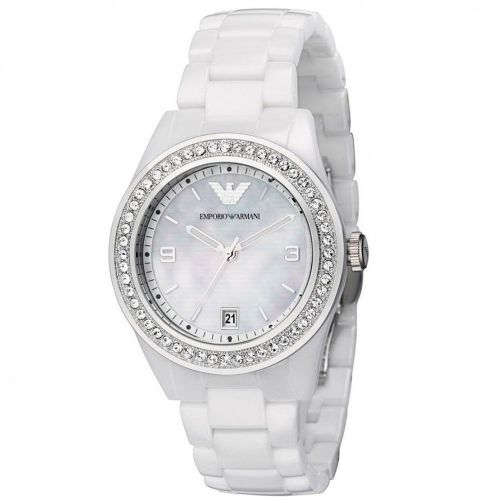 Emporio ARMANI Ceramica White Ceramic Swarovski Crystal Ladies Watch AR1426